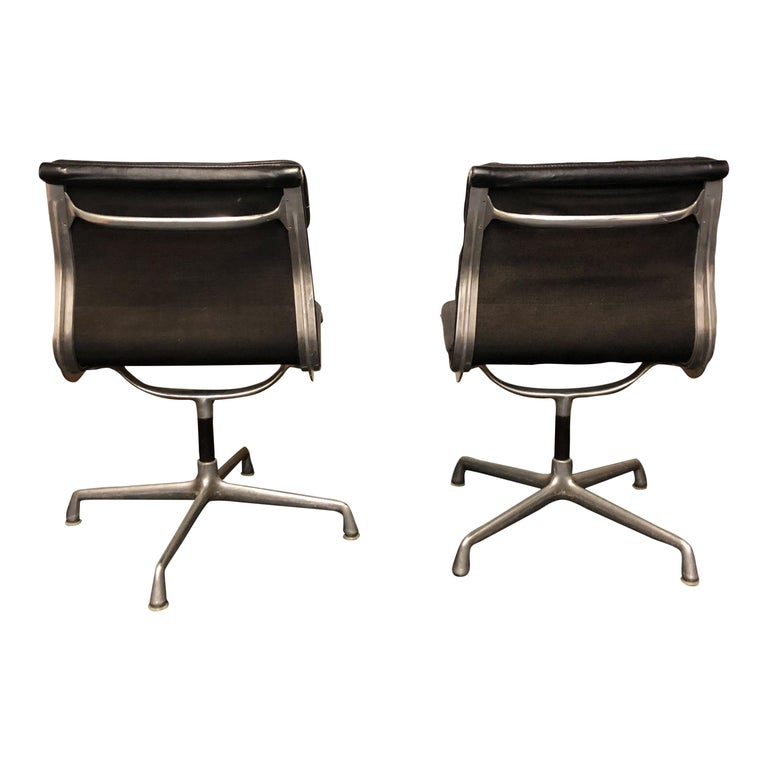 Mid-Century Modern Midcentury Soft Pad Side Chairs by Eames for Herman Miller in Black Leather