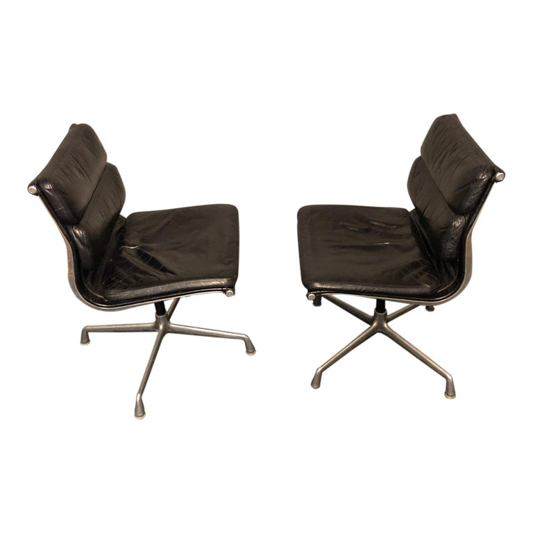 American Midcentury Soft Pad Side Chairs by Eames for Herman Miller in Black Leather