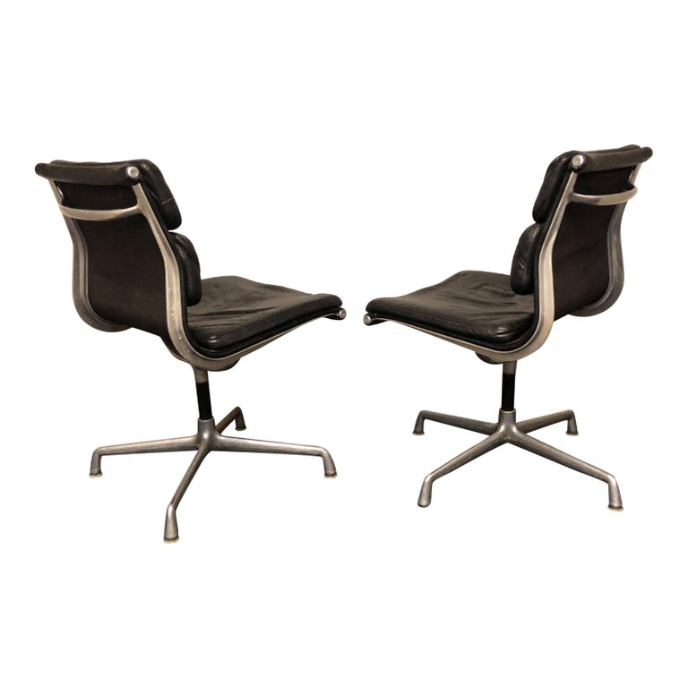 20th Century Midcentury Soft Pad Side Chairs by Eames for Herman Miller in Black Leather