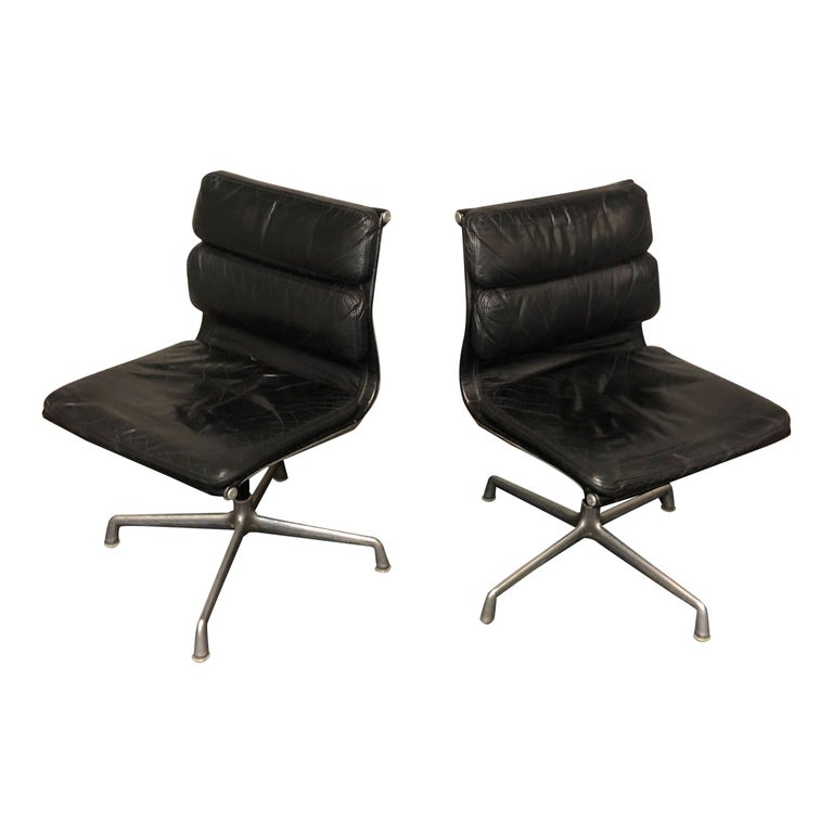 Aluminum Midcentury Soft Pad Side Chairs by Eames for Herman Miller in Black Leather