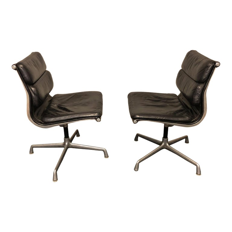 Midcentury Soft Pad Side Chairs by Eames for Herman Miller in Black Leather 1