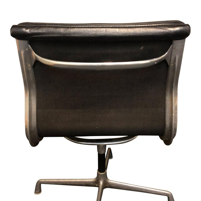 Midcentury Soft Pad Side Chairs by Eames for Herman Miller in Black Leather 2