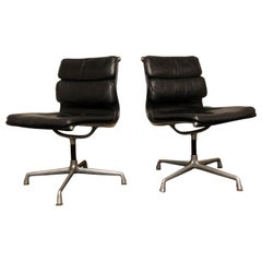 Midcentury Soft Pad Side Chairs by Eames for Herman Miller in Black Leather