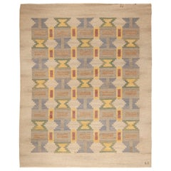 "Midcentury ""Soldis"" Swedish in Pastel Colors Rug by Judith Johansson"