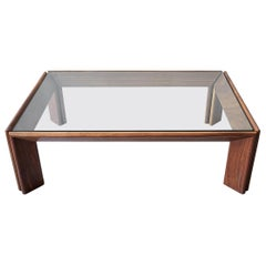 Midcentury Solid Angular Walnut and Glass Coffee Table