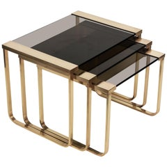 Midcentury Solid Brass and Smoked Glass France Interlocking Side Tables, 1970s