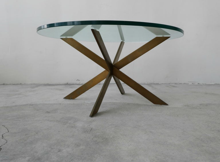 Mid-Century Modern Midcentury Solid Bronze Base Coffee Table by Pace For Sale