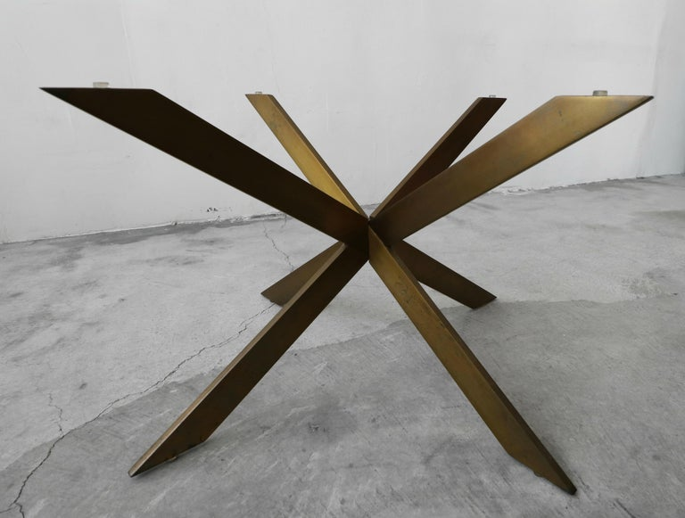 20th Century Midcentury Solid Bronze Base Coffee Table by Pace For Sale