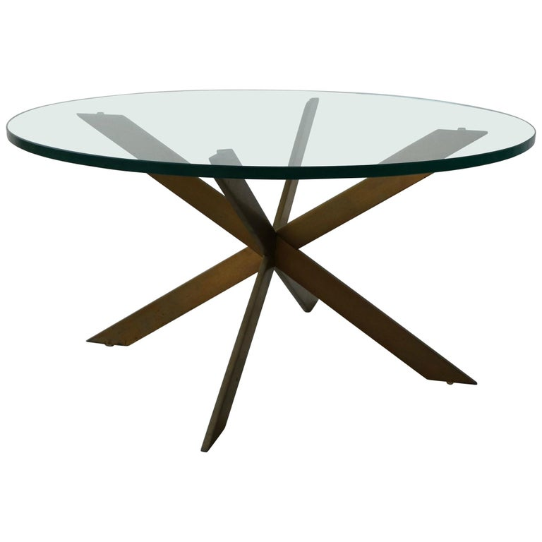 Midcentury Solid Bronze Base Coffee Table by Pace For Sale