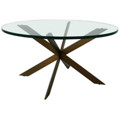 Midcentury Solid Bronze Base Coffee Table by Pace