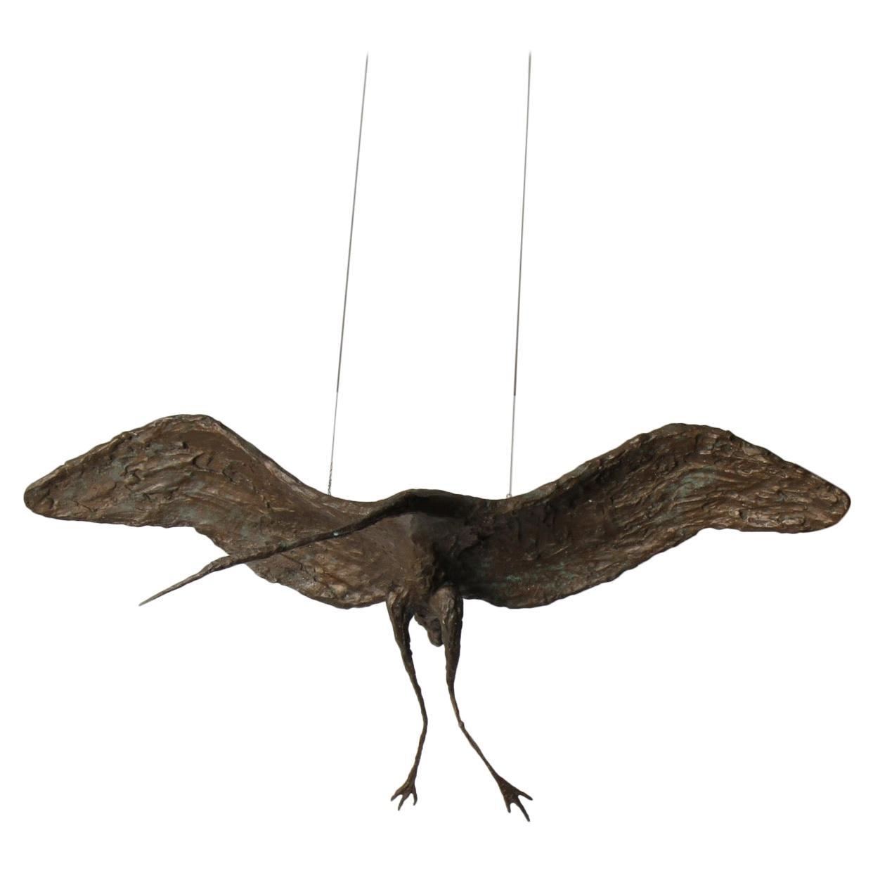 Midcentury Solid Bronze Heron Sculpture
