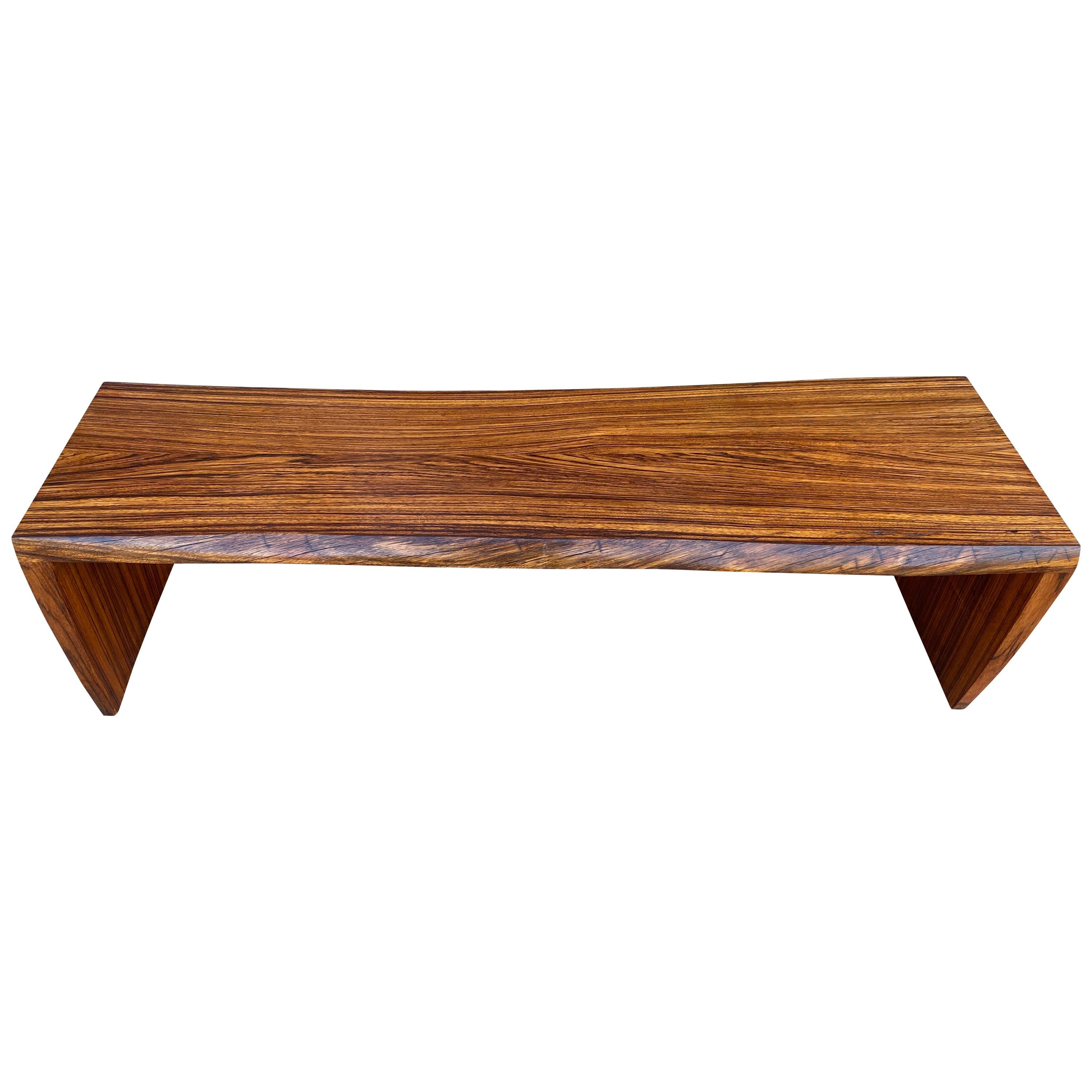 Midcentury Solid Rosewood Studio Craft Coffee Table Bench Style of Nakashima