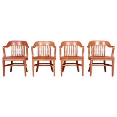 Midcentury Solid Walnut Banker's Chairs by Johnson Chair Co., Set of Four