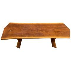 Midcentury Solid Walnut Studio Craft Coffee Table Bench Style of Nakashima