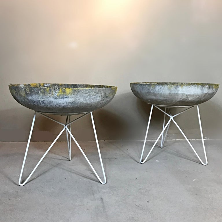 Karl Fostel Sonett formed stone saucer planter on a white lacquered hairpin iron base. Quite a rare offering from the famed Austrian architects, V. Mödlhammer and J. O. Wladar. We like the contrasting color tones and the lovely patina. They give