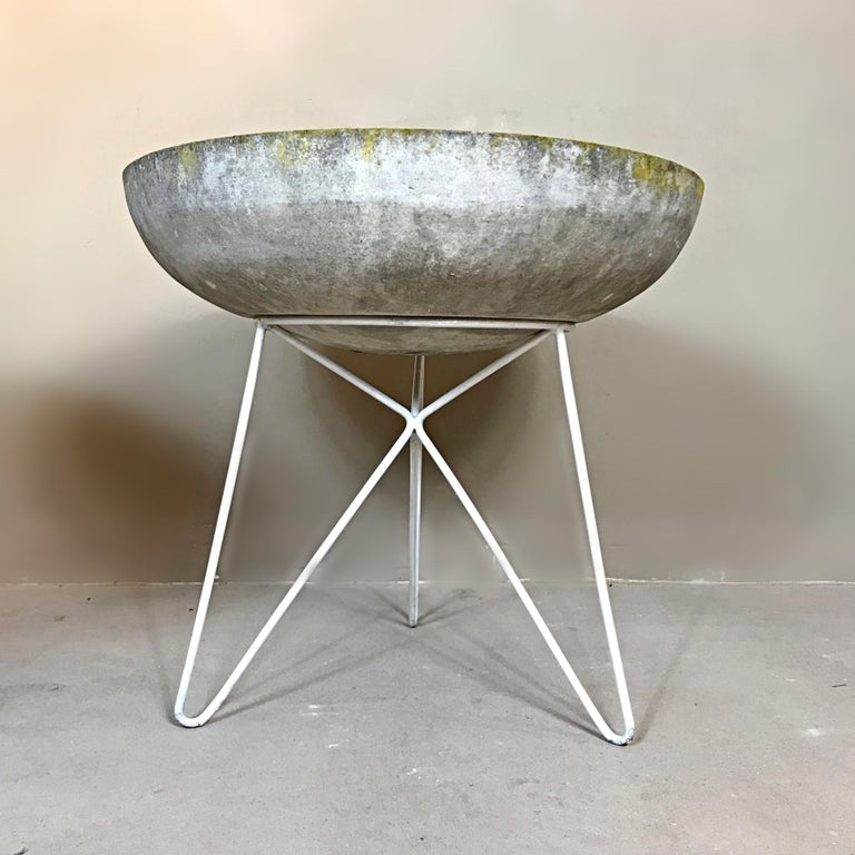 Stone Midcentury Sonett Saucer Garden Planters with Hairpin Legs Stand, 1950s, Austria For Sale