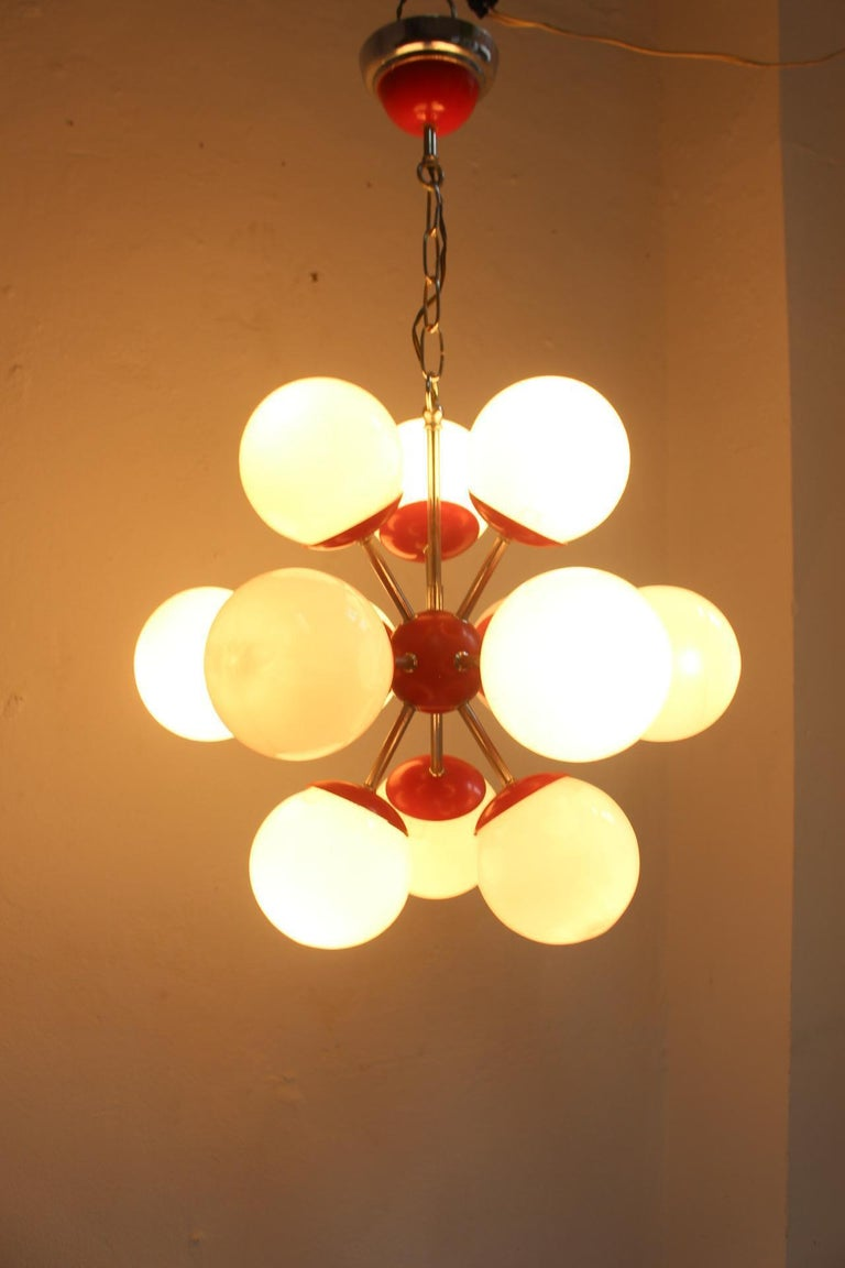 Mid-20th Century Midcentury Space Age 12 Lights Red Sputnik Ceiling Lamp, 1960s For Sale