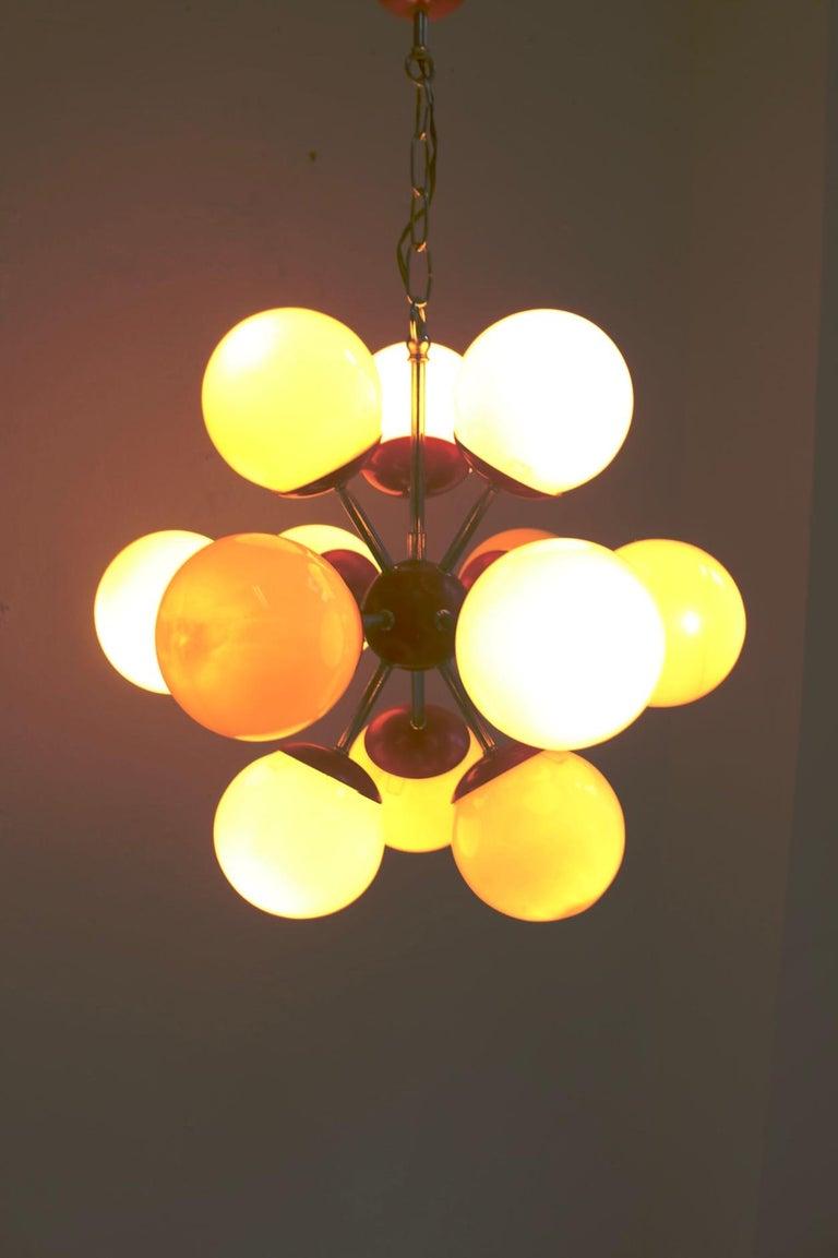 Metal Midcentury Space Age 12 Lights Red Sputnik Ceiling Lamp, 1960s For Sale
