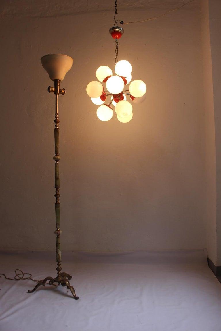 Midcentury Space Age 12 Lights Red Sputnik Ceiling Lamp, 1960s For Sale 1