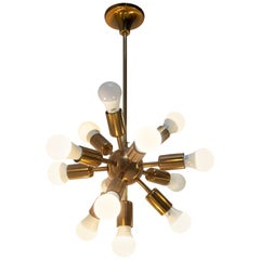 Midcentury Space Age Ten Arms Copper Sputnik Chandelier, 1960s