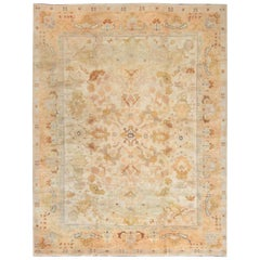 Midcentury Spanish Beige, Blue, Brown and Orange Hand Knotted Wool Rug