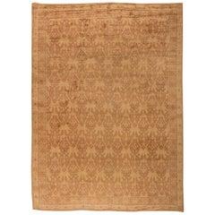 Midcentury Spanish Beige Handmade Wool Carpet