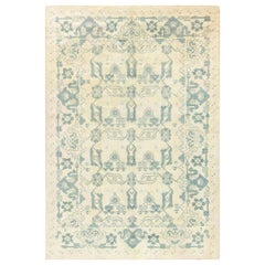 Midcentury Spanish Blue and Ivory Handmade Wool Rug
