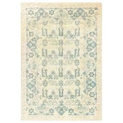 Mid-20th century Spanish Blue and Ivory Handmade Wool Rug