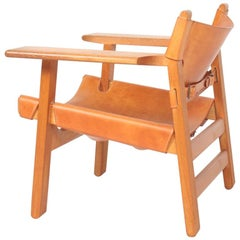 Midcentury Spanish Chair in Patinated Leather and Oak by Børge Mogensen, 1950s