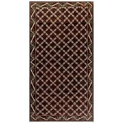 Midcentury Spanish Chocolate Brown and Ivory Handmade Wool Carpet