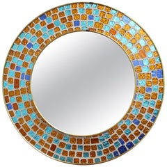 Midcentury Spanish Circular Brass Wall Mirror with Decorative Mosaic Glass 1960s