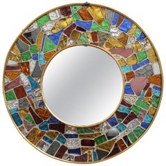Midcentury Spanish Circular Brass Wall Mirror with Mosaic Surround, circa 1960s