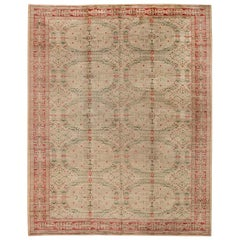 Midcentury Spanish Floral Handwoven Wool Carpet