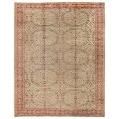 Midcentury Spanish Floral Handwoven Wool Carpet