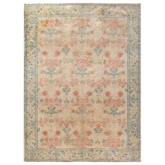 Midcentury Spanish Handmade Wool Rug in Beige, Turquoise and Dusty Pink