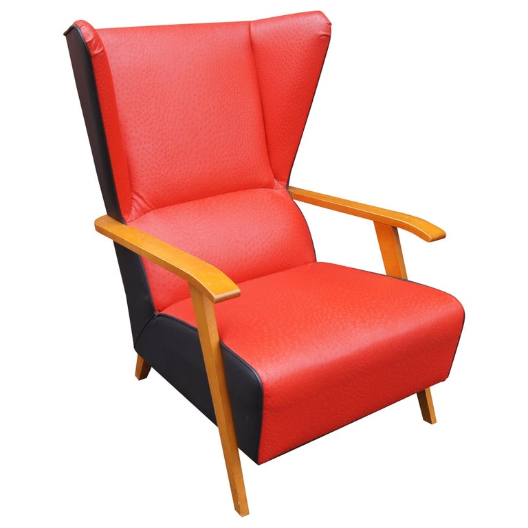 Midcentury Spanish High-Back Leather Lounge Chair For Sale