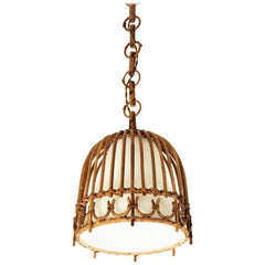 Rattan and Bamboo Spanish Midcentury Bell Pendant Hanging Light, 1960s