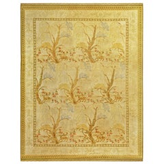 Midcentury Spanish Rug in Yellow, Beige, Brown and Blue