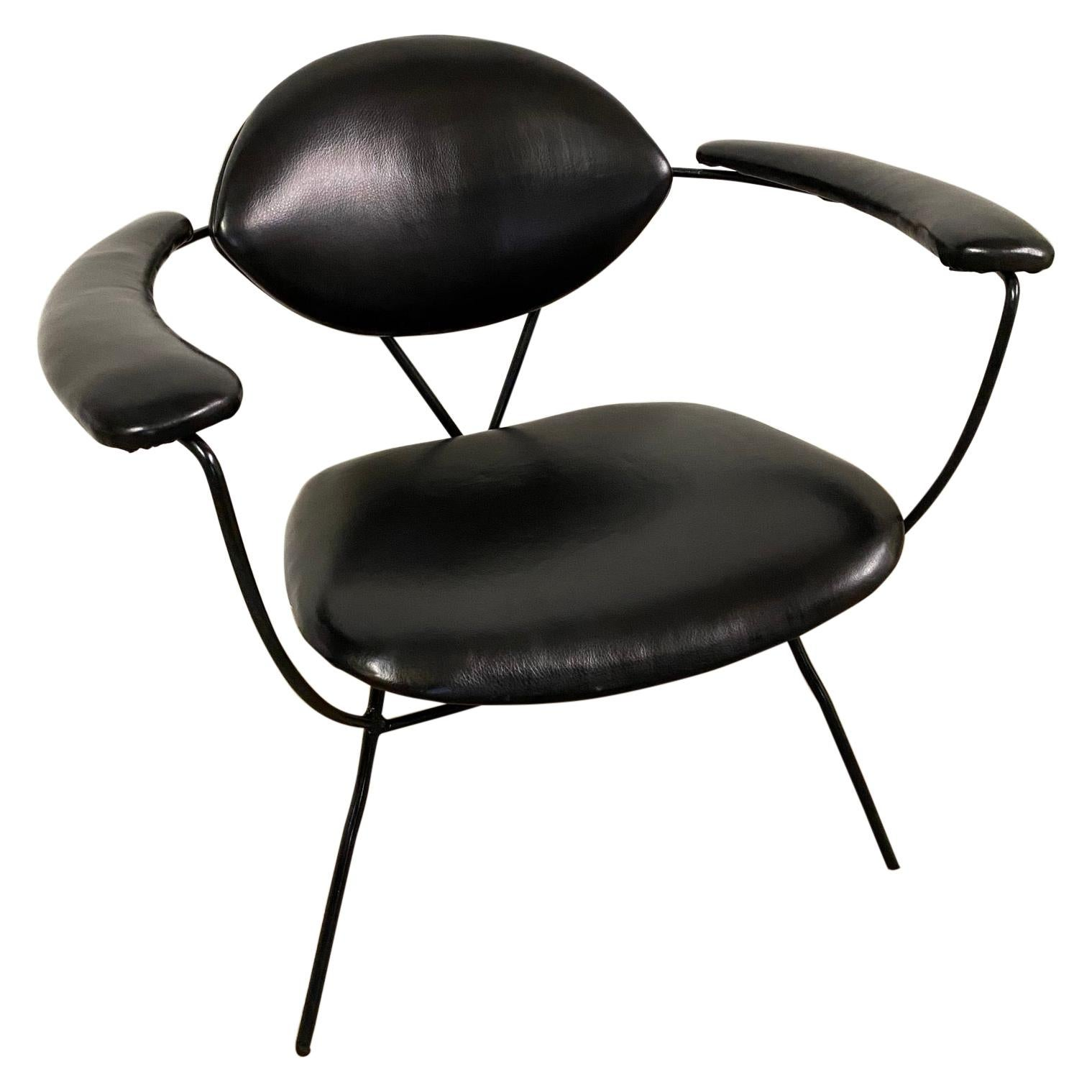 Midcentury Spider Leg Leather Arm Chair