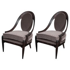 Midcentury Spoon Back Chairs in Ebonized Walnut & Gauffraged Mohair