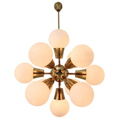 Midcentury Sputnik Chandelier in Brass and Opaline Glass Spheres, Europe, 1970s