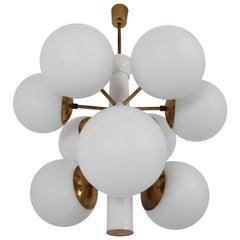 Midcentury Sputnik Chandelier with Nine Handblown Opal Glass Globes
