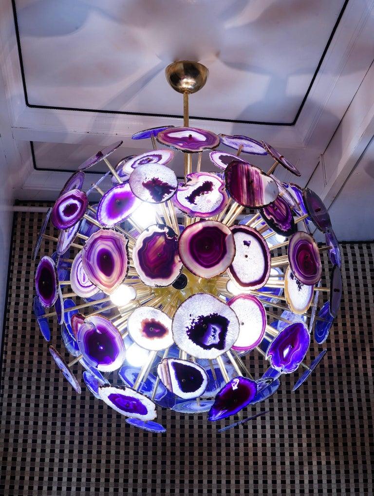 Midcentury Sputnik Spherical Agata and Brass Chandelier, 1970 For Sale 1