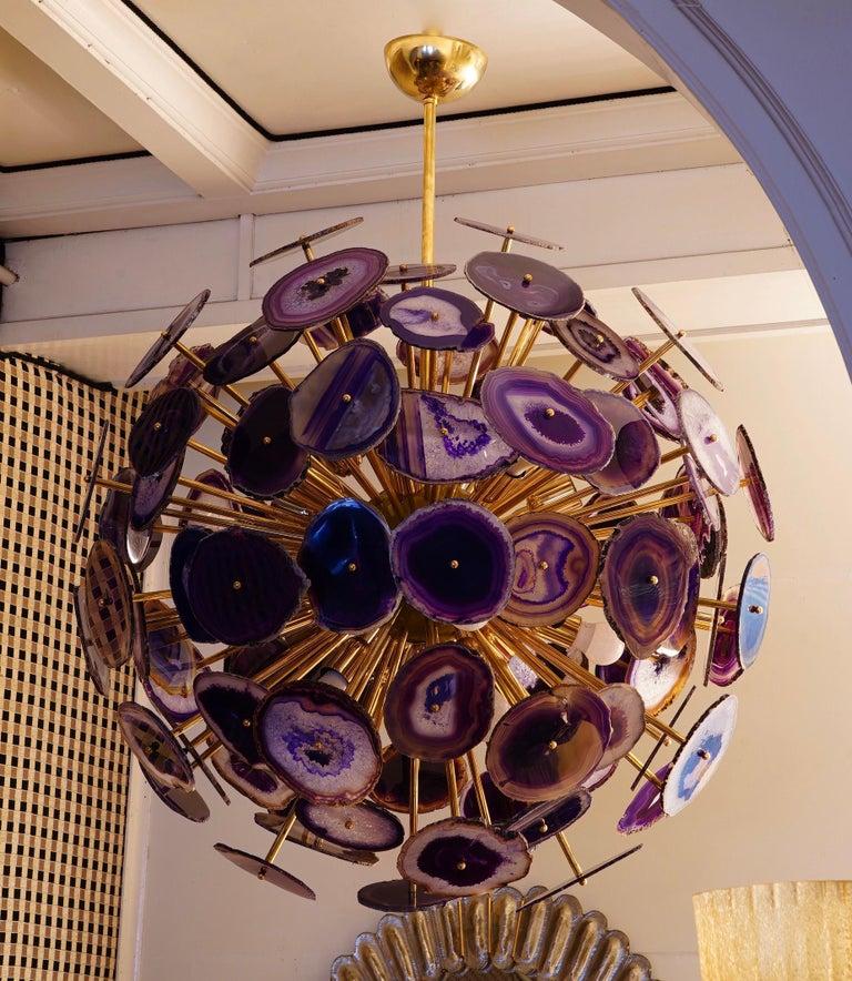Midcentury Sputnik Spherical Agata and Brass Chandelier, 1970 For Sale 2