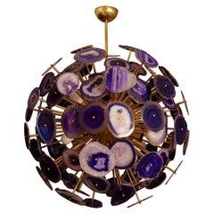Midcentury Sputnik Spherical Agata and Brass Chandelier, 1970