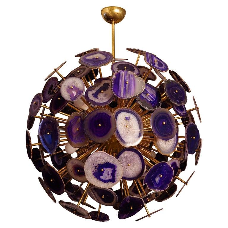 Midcentury Sputnik Spherical Agata and Brass Chandelier, 1970 For Sale