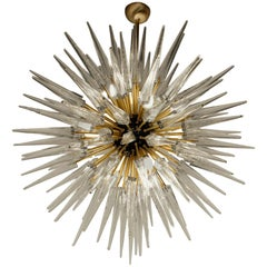 Midcentury Sputnik Spike Chandelier, Clear Prismatic Elements, Murano