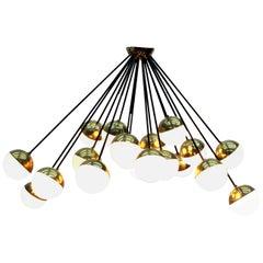 """Midcentury """"Sputnik"""" Stilnovo Brass and Glass 18 Lights Huge Chandelier, 1950s"""