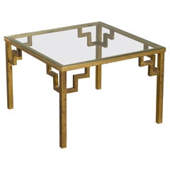 Midcentury Square Brass Low Coffee Table