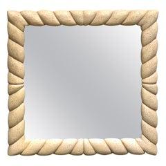 Midcentury Square Coral Stone Square Mirror